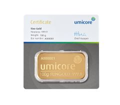 Gold bar 100 grams - Umicore