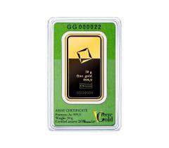 Lingot d'or 50 grammes - Valcambi Green Gold